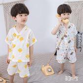 兒童睡衣男童女童寶寶夏季薄款棉紗布小孩男孩夏天短袖和服家居服TT2977『易購3c』