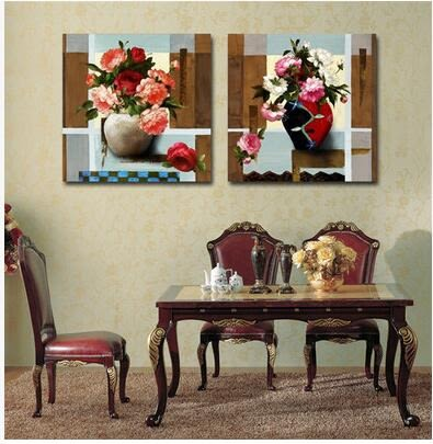裝飾畫客廳現代無框畫兩聯畫壁畫沙發背景牆畫印象油畫家飾掛畫
