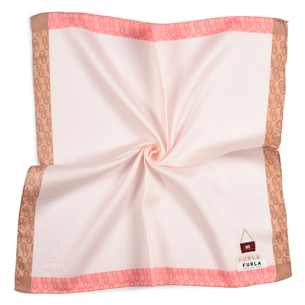 FURLA刺繡包包品牌印花純綿帕領巾(粉紅色)989250-16