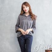 【ef-de】激安 水玉雪紡五分袖弧下襬襯衫(深褐)