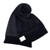 Calvin Klein CK新款雙色編織LOGO圍巾(黑灰色)103212