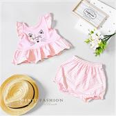寶寶 貓咪條紋粉色花邊套裝 上衣 女童短褲 小童 女童 女童裝 女童上衣 套裝 條紋 棉質 夏天