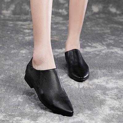 真皮女鞋 尖頭小皮鞋 套腳休閒鞋/2色-夢想家-標準碼-0807