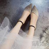 網紅新款涼鞋子女夏一字帶小清新高跟鞋細跟學生韓版百搭少女 衣櫥秘密