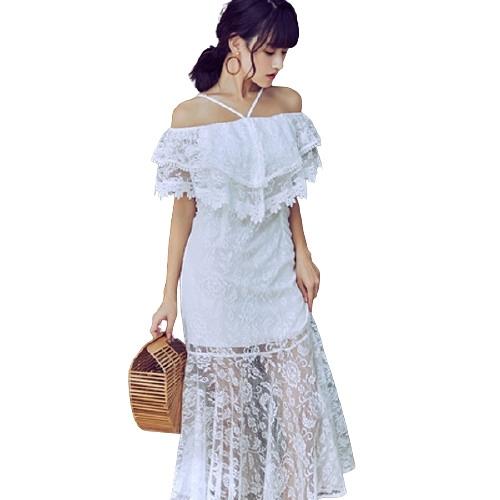 Qmigirl 蕾絲白色連身裙名媛氣質一字肩長裙 洋裝【WT123】