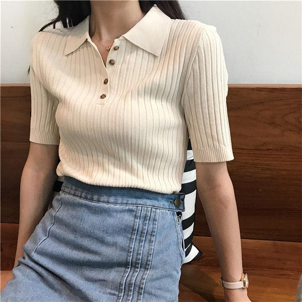 [協貿國際]修身豎螺紋polo領針織衫  豎螺紋半袖T恤1入