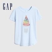 Gap女童 趣味雙面亮片短袖T恤 805120-淺藍色