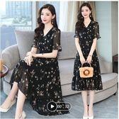 促销不退换連身裙長裙洋裝M-3XL29221新款寬松顯瘦娃娃領黑色碎花中長裙荷葉袖氣質雪紡連身裙