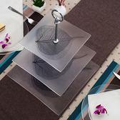 三層現代創意蛋糕架干果水果架盤鋼化玻璃下午茶點心彩繪盤子HPXW
