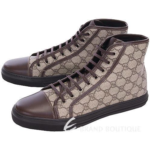 GUCCI GG PLUS NEW 咖啡色防水膠質高筒休閒鞋 1240228-07