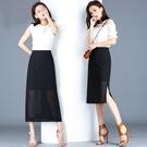夏季雪紡半身裙女2021新款韓版高腰開叉黑色顯瘦包臀裙中長a字裙 快速出貨