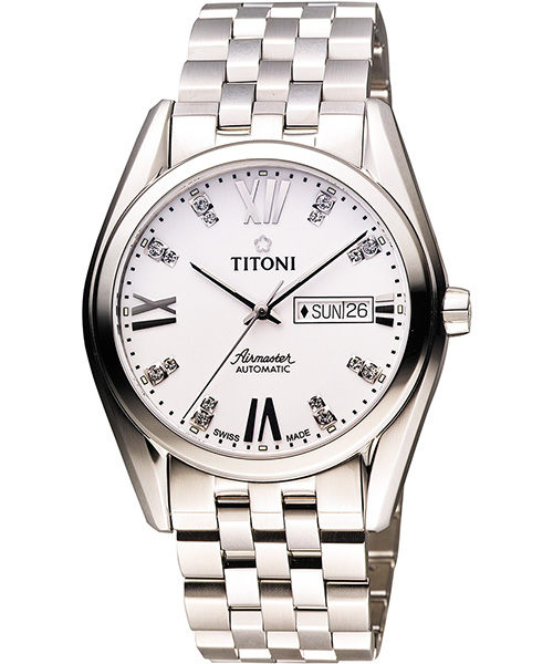 TITONI Airmaster 紳士時尚Day-Date機械腕錶-銀/40mm 93709S-385