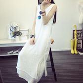 文藝棉麻無袖吊帶裙子白色亞麻長款打底洋裝女背心長裙 伊衫風尚
