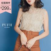 現貨 PUFII-套裝 鏤空蕾絲無袖上衣+細肩背心兩件式套裝 3色-0426 春【ZP14492】