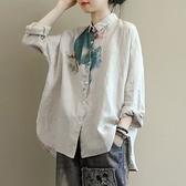 長袖棉麻上衣 日韓外貿尾單品牌剪標女裝印花苧麻襯衫女長袖亞麻料休閒棉麻上衣 韓國時尚週