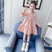 洋裝 女童長袖連身裙春秋裝新款洋氣中童學生裙子學院風兒童公主裙 朵拉朵