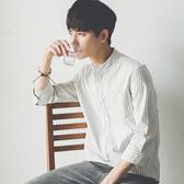 夏季學生韓版修身豎條紋7七分袖白襯衫潮流痞短袖襯衣服男寸帥氣 聖誕節交換禮物
