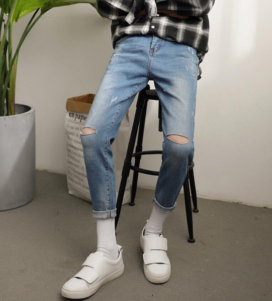 FINDSENSE MD 時尚 男 韓國 簡約 純色 個性膝蓋割破 小腳褲 休閒
