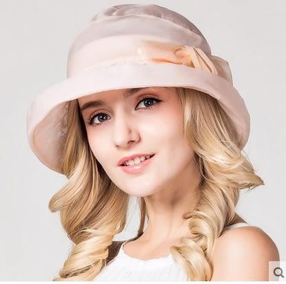 夏天遮陽帽高端真絲太陽帽防紫外線桑蠶絲防曬帽   -charle0054