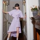 輕熟風洋裝 紫色法式設計感 襯衫裙子夏天連身裙女輕熟溫柔風-Ballet朵朵