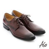 A.S.O 3D超動能 壓紋牛皮綁帶奈米紳士鞋 咖啡