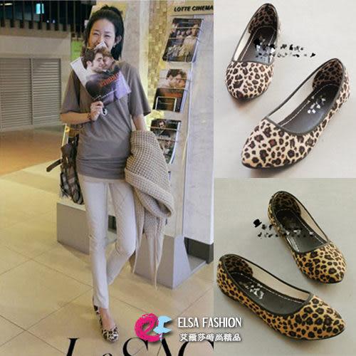 *艾爾莎*【TSB8515】超人氣歐美模特兒最愛豹紋淺口尖頭平跟公主鞋