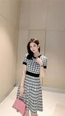 法式溫柔風撞色圓領收腰針織連衣裙女夏裝幾何圖案小個子冰絲裙子N2F-A10-A胖妞衣櫥