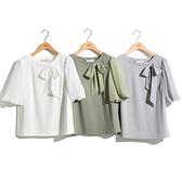 H2O 秋 楊柳布拼接五分泡泡袖針織上衣 - 綠/白/灰色 #1631003