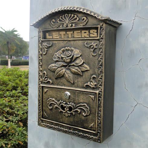 歐式鑄鋁工藝品壁掛式花開富貴信報箱郵箱古銅色鐵藝信箱裝飾