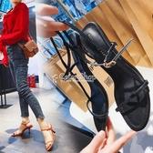 涼鞋女仙女風早春新款歐美露趾百搭顯瘦一字扣後空細跟高跟鞋 color shop