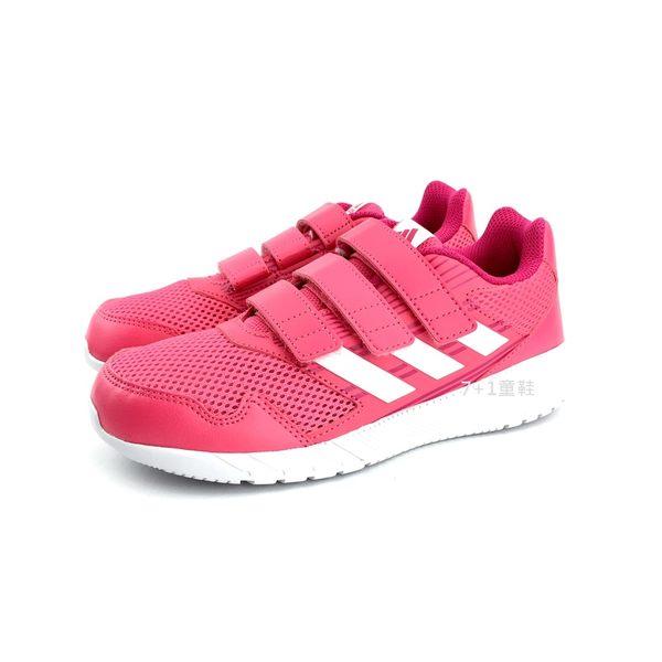 中大童 ADIDAS CQ0032 魔鬼氈 輕量透氣慢跑鞋《7+1童鞋》7304 粉色