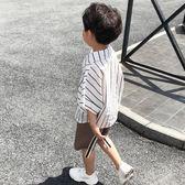 男童棉麻襯衫短袖潮2018夏季新款中大童休閒韓版上衣條紋半袖襯衣   初見居家