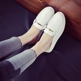 夏季新款韓版套腳小白鞋樂福後空單鞋子圓頭懶人平底半拖鞋女  卡布奇諾