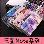 【萌萌噠】三星 Galaxy Note9 Note8 男女高配款 蠶絲紋可愛彩繪側翻皮套 可磁扣插卡支架 附掛繩