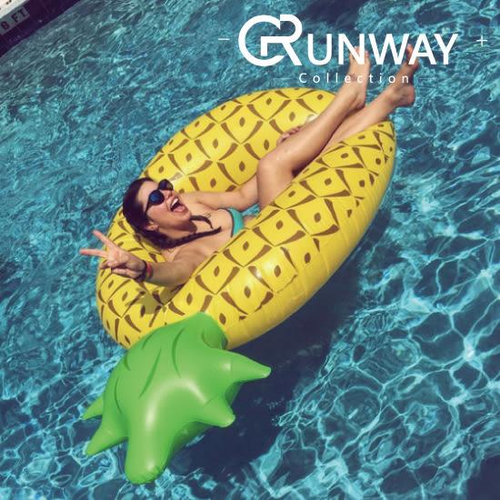 【24H】巨型超大鳳梨造型泳圈 超大浮板 180CM 救生圈 漂浮板 黃色鳳梨 夏季沙灘必備 戲水泳圈 泳具