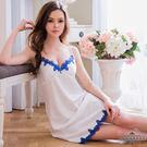 大尺碼Annabery優雅純白綴藍緞面睡衣 | OS小舖