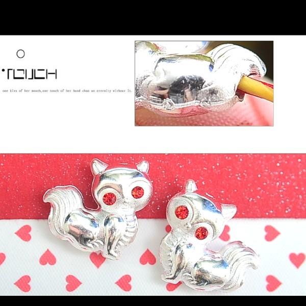 銀鏡DIY S990純銀材料配件/可愛Q版招桃花魅惑水鑽小狐狸墜-穿式~適合手作串珠/蠶絲蠟線/幸運繩