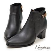 訂製鞋 質感金屬釦環尖頭中跟短靴-艾莉莎ALISA【1459072】黑色下單區