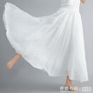 夏天裙子復古文藝雙層棉麻大擺長裙顯瘦荷葉邊中長款白色半身裙女 怦然心動