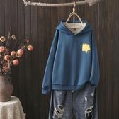 促銷特價 秋冬季新款大碼女士休閑套頭衫胖MM加絨加厚印花連帽長袖衛衣