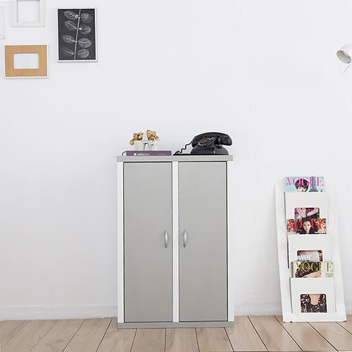 《Accessco》日系雙色六格二門厚板收納書櫃[亮銀白]