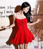 [貝貝居] 小禮服歐美風性感裹胸綁帶蓬蓬裙高腰顯瘦吊帶連身裙
