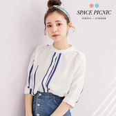 襯衫 Space Picnic|現+預.跳色直條紋排釦式長袖襯衫【C17074005】