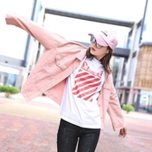 牛仔外套糖果色牛仔外套女寬鬆正韓小清新學生粉色牛仔衣女夾克春秋bf風潮