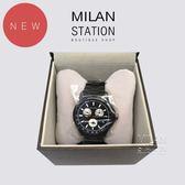 【台中米蘭站】GUCCI 黑色三眼鋼帶腕表