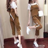 套裝女夏季2018新款時尚韓版春裝運動氣質休閒雪紡寬管褲兩件套潮-Ifashion