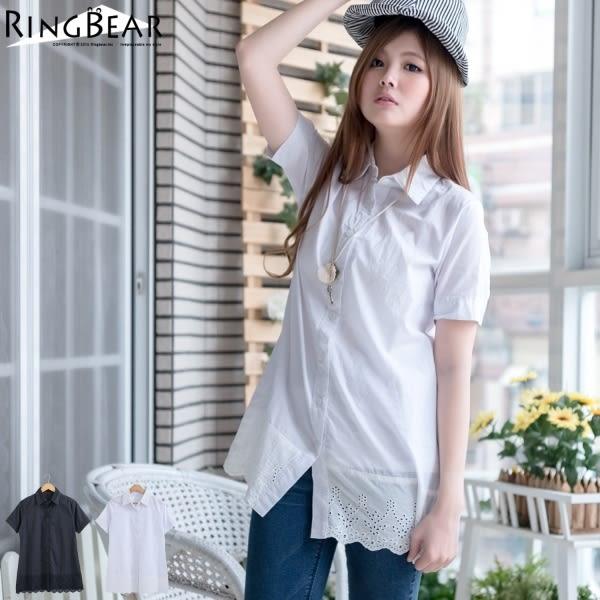 長版襯衫--濃濃日系素雅風蕾絲領下擺刺繡蕾絲素面短袖長版襯衫(白.黑M-XL)-H156眼圈熊中大尺碼