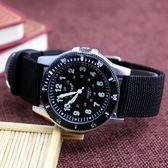 兒童手錶 復古指南針帆布手錶運動防水石英電子手錶中學生男孩腕錶韓版 都市韓衣