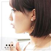 時髦有解珍珠鏤空方形長鍊流蘇雙面耳環2 色until 718111
