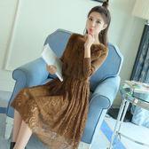 洋裝 韓版 蕾絲加絨長袖連身裙 小禮服 花漾小姐【現貨】